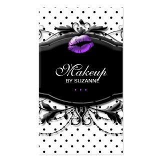 Cosmetologist Business Card Makeup Polka Dots