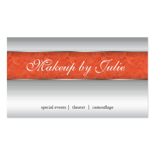 Cosmetologist Business Card Modern Orange Silver