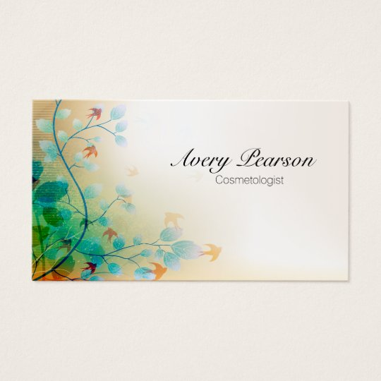 Cosmetologist Delicate Floral Vines and Leaves Business Card