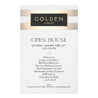Cosmetologist Gold Stripes Hair Salon and Spa 14 Cm X 21.5 Cm Flyer