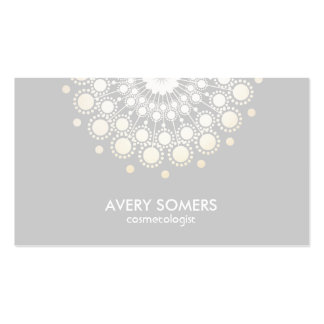 Cosmetologist Ornate Circle Motif Grey Modern Pack Of Standard Business Cards