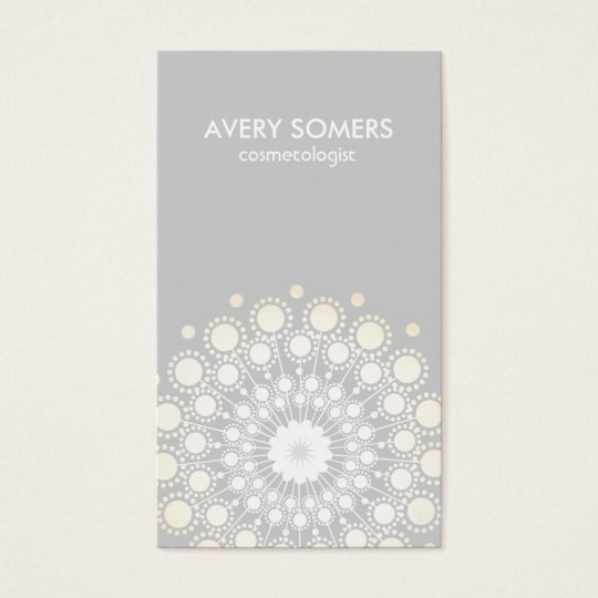 Cosmetologist Ornate Flower Motif Grey Modern Business Card