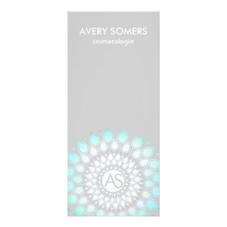 Cosmetologist Ornate Leaf Motif Grey Modern Rack Card