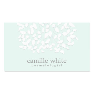 Cosmetologist Pretty White Leaves Light Aqua Blue Pack Of Standard Business Cards