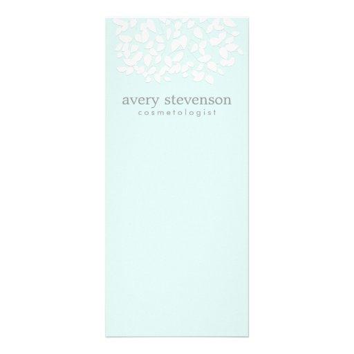 Cosmetologist Pretty White Leaves Light Aqua Blue Rack Card Template