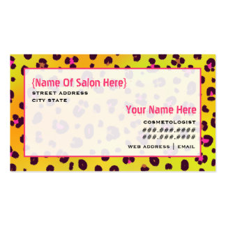Cosmetologist Salon Appointment Orange Leopard Business Card