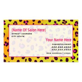 Cosmetologist Salon Appointment Orange Leopard Business Card