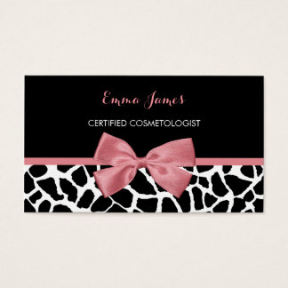 Cosmetologist Trendy Giraffe Print Rosy Pink Bow