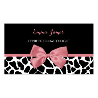 Cosmetologist Trendy Giraffe Print Rosy Pink Bow Pack Of Standard Business Cards