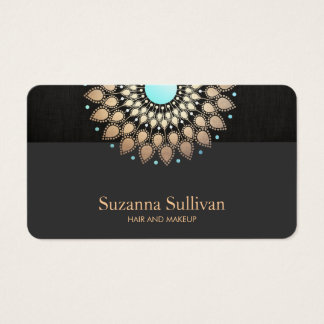 Cosmetology Beauty Salon Gold Mandala Art Business Card
