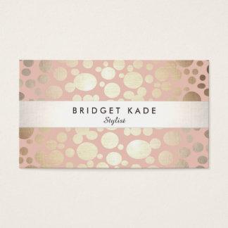 Cosmetology Beauty Salon Gold & Pink Pattern Business Card