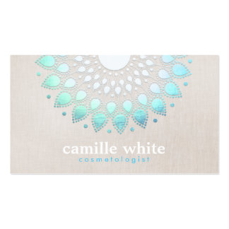 Cosmetology Elegant Circle Light Blue Linen Look Pack Of Standard Business Cards