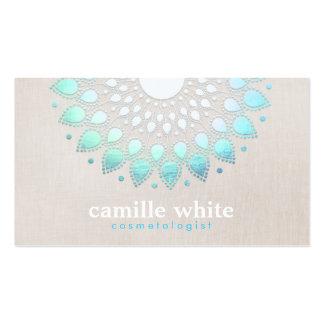 Cosmetology Elegant Circle Light Blue Linen Look Pack Of Standard Business Cards