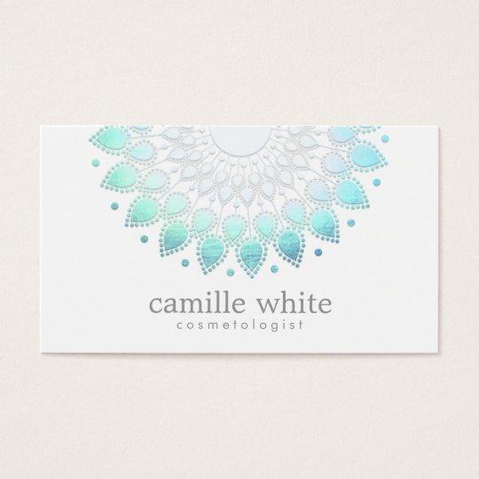Cosmetology Elegant Circle Motif Light Blue White Business