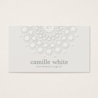 Cosmetology Elegant Rosette Monochromatic White Business Card
