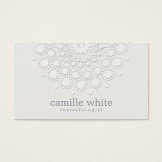 Cosmetology Elegant Rosette Monochromatic White Business Card