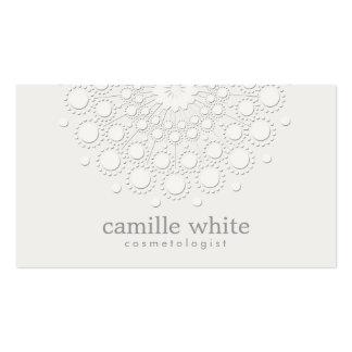 Cosmetology Elegant Rosette Monochromatic White Pack Of Standard Business Cards