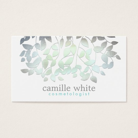 Cosmetology Faux Blue Green Foil Leaves White Business