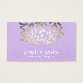 Cosmetology Faux Foil Leaves Lavender Linen Look Business Card