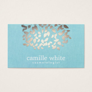 Cosmetology Faux Foil Leaves Turquoise Linen Look Business Card