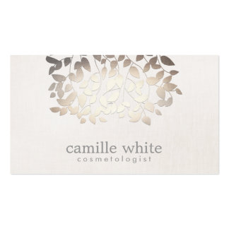 Cosmetology Faux Gold Foil Leaves Linen Look Business Cards