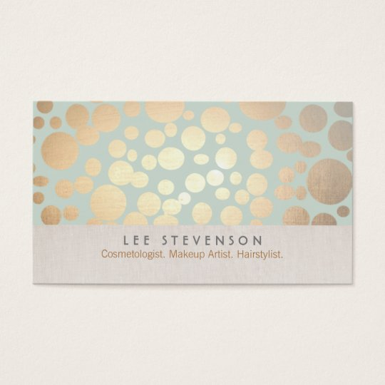 Cosmetology Gold Circles Pale Turquoise Linen Look Business