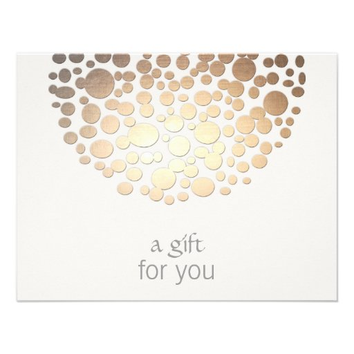 Cosmetology Gold Circles Spa Gift Certificate Custom Invitation