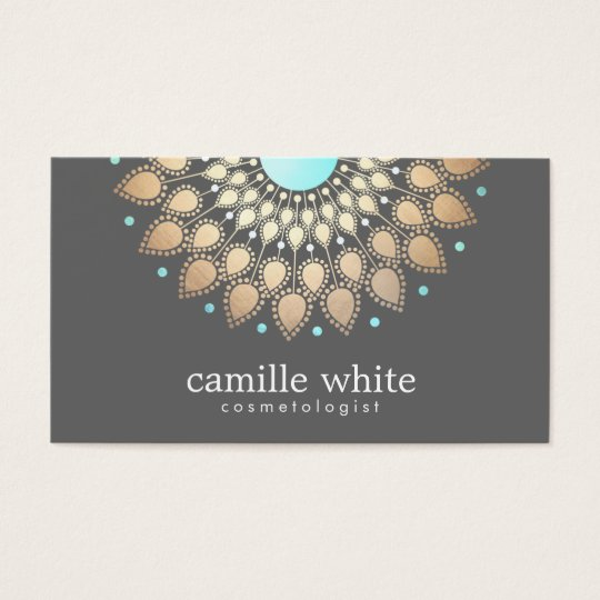 Cosmetology Gold Ornate Motif Grey Business Card
