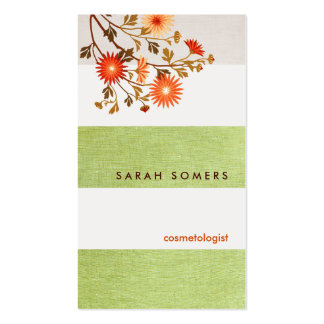 Cosmetology Green  Striped Linen Natural Beauty Business Card Templates