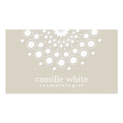 Cosmetology Pretty White Circle Beige Texture Look Business Card