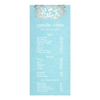 Cosmetology Silver Leaves Salon Price List Menu Custom Rack Cards