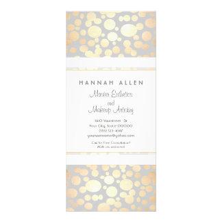 Cosmetology Spa and Salon Gold Circles Menu Personalized Rack Card