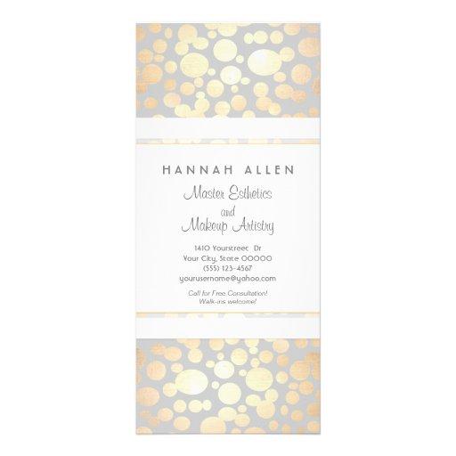 Cosmetology Spa and Salon Gold Circles Menu Customized Rack Card