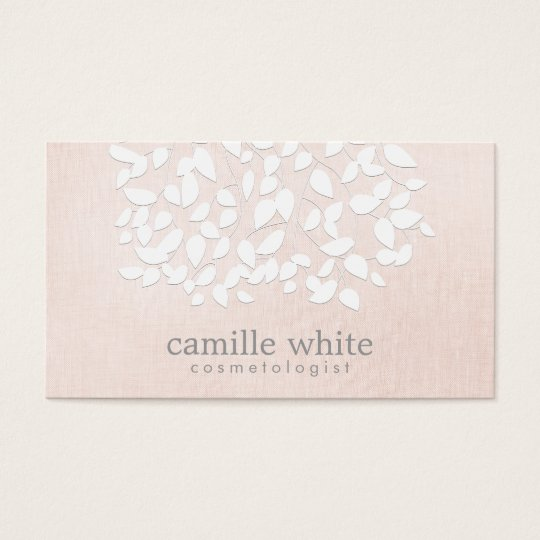 Cosmetology White Leaves Pink Linen Look Business Card