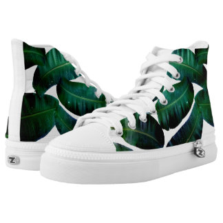 Cosmic Banana Leaves Zips High Top Shoes Printed Shoes