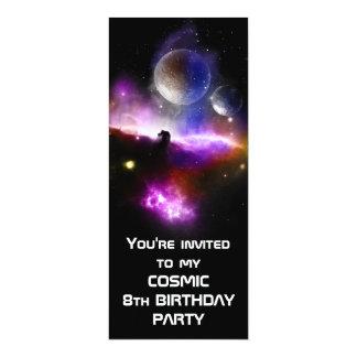 Cosmic Birthday invite slim version 10 Cm X 24 Cm Invitation Card