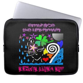 """Cosmic Black Cat"" Neoprene Laptop Sleeve 13 inch"