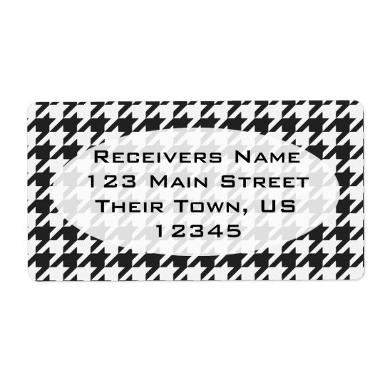 Cosmic Black Houndstooth 1 Shipping Label