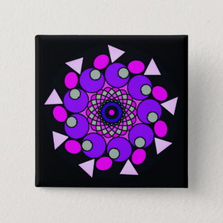 Cosmic Black Pink Purple Geometric Star Button