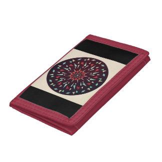Cosmic Black Tan Red Geometric Shatter Wallet