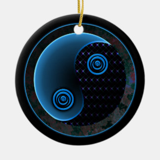 Cosmic Blue in Balance Yin Yang Christmas Ornament