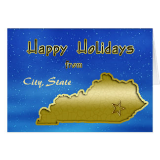 Cosmic Blue Sky Kentucky Map Custom Card