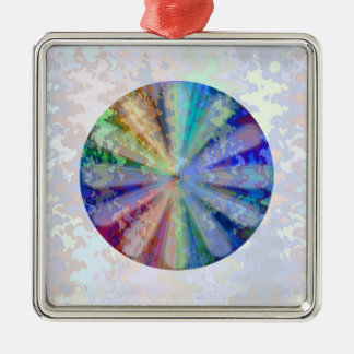 Cosmic Blueray Sparkling Jewels Square Metal Christmas Ornament