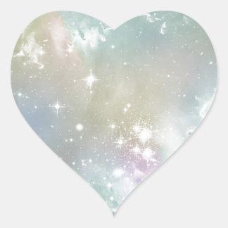 Cosmic Blues Pastel Space Art Heart Stickers