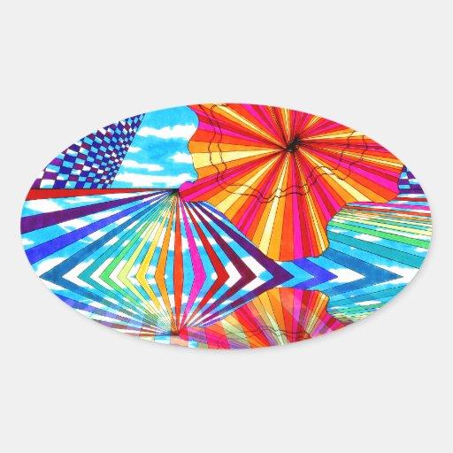 Cosmic Bright Geometric Kaleidoscope Rainbow Art Oval Stickers