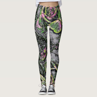 Cosmic Butterflies & Roses Neon Paint Art Leggings