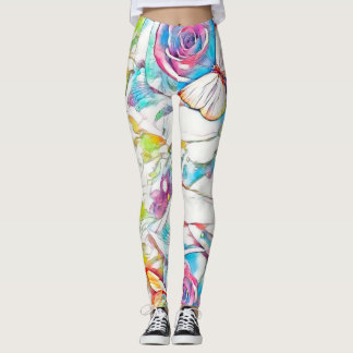 Cosmic Butterflies & Roses Watercolor Pencil Art Leggings