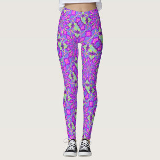 Cosmic Butterfly Love On Purple Satin Leggings