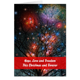 Cosmic Christmas Tree with Greeting Card