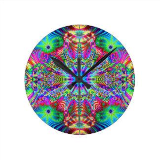 Cosmic Creatrip - Psychedelic trippy design Round Clock